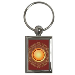 Badge Gilding Sun Red Oriental Key Chains (rectangle)