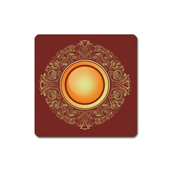 Badge Gilding Sun Red Oriental Square Magnet