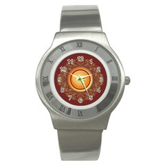 Badge Gilding Sun Red Oriental Stainless Steel Watch
