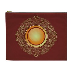 Badge Gilding Sun Red Oriental Cosmetic Bag (xl) by Celenk