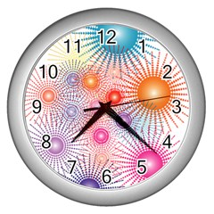 Stars Fireworks Colors Wall Clocks (silver)  by Celenk