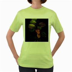 Autumn Leaves Foliage Women s Green T Shirt