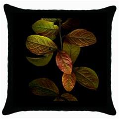 Autumn Leaves Foliage Throw Pillow Case (black) by Celenk