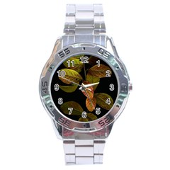 Autumn Leaves Foliage Stainless Steel Analogue Watch by Celenk