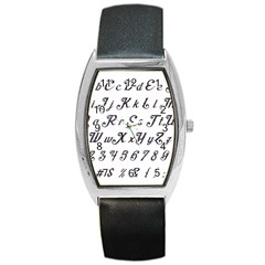 Font Lettering Alphabet Writing Barrel Style Metal Watch