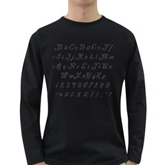 Font Lettering Alphabet Writing Long Sleeve Dark T Shirts by Celenk