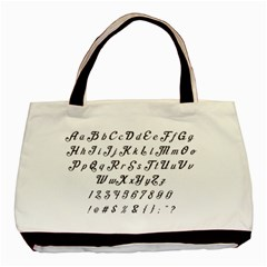 Font Lettering Alphabet Writing Basic Tote Bag (two Sides) by Celenk