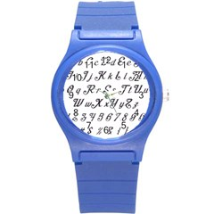 Font Lettering Alphabet Writing Round Plastic Sport Watch (s) by Celenk