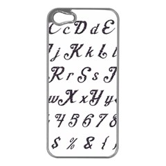 Font Lettering Alphabet Writing Apple Iphone 5 Case (silver) by Celenk