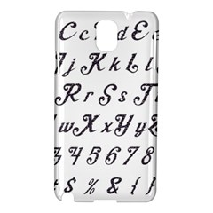 Font Lettering Alphabet Writing Samsung Galaxy Note 3 N9005 Hardshell Case by Celenk