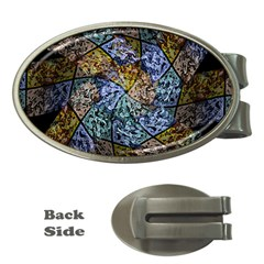 Multi Color Tile Twirl Octagon Money Clips (oval)