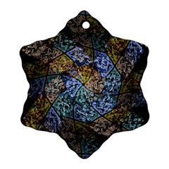 Multi Color Tile Twirl Octagon Ornament (snowflake) by Celenk