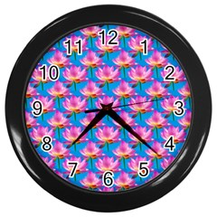 Seamless Flower Pattern Colorful Wall Clocks (black)