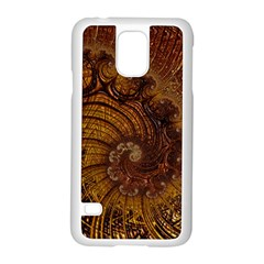 Copper Caramel Swirls Abstract Art Samsung Galaxy S5 Case (white) by Celenk