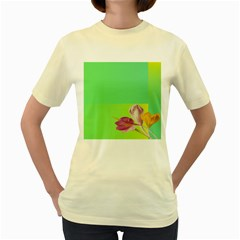 Background Homepage Blossom Bloom Women s Yellow T Shirt