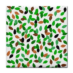 Leaves True Leaves Autumn Green Tile Coasters by Celenk