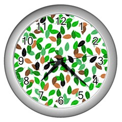Leaves True Leaves Autumn Green Wall Clocks (silver)