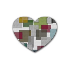 Decor Painting Design Texture Rubber Coaster (heart)  by Celenk
