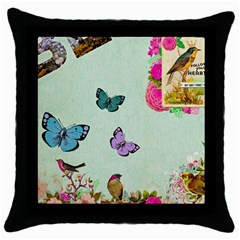 Collage Throw Pillow Case (black) by 8fugoso
