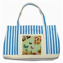 Collage Striped Blue Tote Bag by 8fugoso