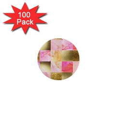 Collage Gold And Pink 1  Mini Buttons (100 Pack)  by 8fugoso