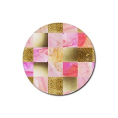 Collage Gold And Pink Rubber Round Coaster (4 Pack)  by 8fugoso