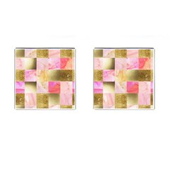 Collage Gold And Pink Cufflinks (square) by 8fugoso