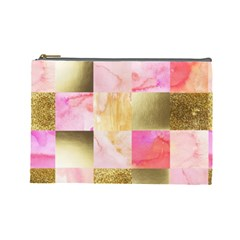 Collage Gold And Pink Cosmetic Bag (large)  by 8fugoso