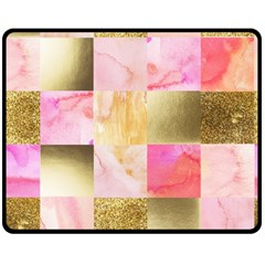 Collage Gold And Pink Fleece Blanket (medium)  by 8fugoso