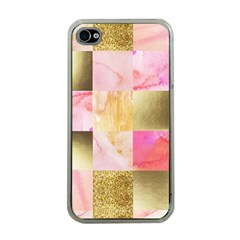 Collage Gold And Pink Apple Iphone 4 Case (clear) by 8fugoso