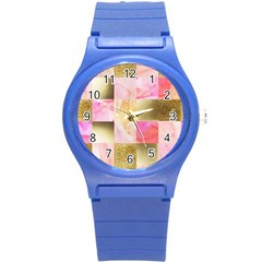Collage Gold And Pink Round Plastic Sport Watch (s) by 8fugoso