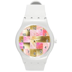 Collage Gold And Pink Round Plastic Sport Watch (m) by 8fugoso