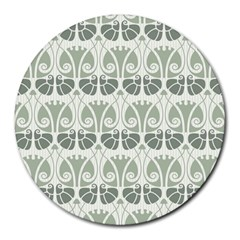 Teal Beige Round Mousepads by 8fugoso