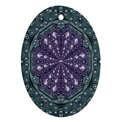 Star And Flower Mandala In Wonderful Colors Ornament (oval) by pepitasart