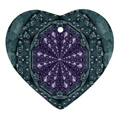 Star And Flower Mandala In Wonderful Colors Ornament (heart) by pepitasart