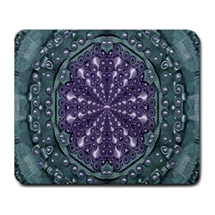 Star And Flower Mandala In Wonderful Colors Large Mousepads by pepitasart
