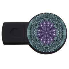 Star And Flower Mandala In Wonderful Colors Usb Flash Drive Round (2 Gb) by pepitasart