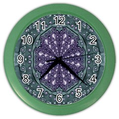 Star And Flower Mandala In Wonderful Colors Color Wall Clocks by pepitasart