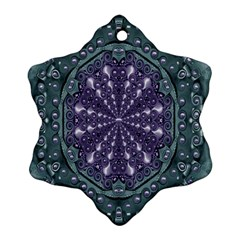 Star And Flower Mandala In Wonderful Colors Snowflake Ornament (two Sides) by pepitasart
