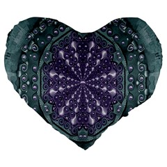 Star And Flower Mandala In Wonderful Colors Large 19  Premium Heart Shape Cushions by pepitasart