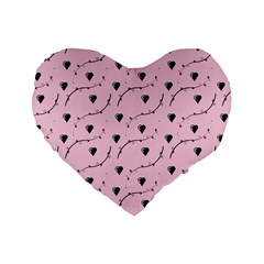 Love Hearth Pink Pattern Standard 16  Premium Heart Shape Cushions by Celenk