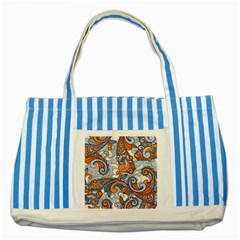 Paisley Pattern Striped Blue Tote Bag by Celenk