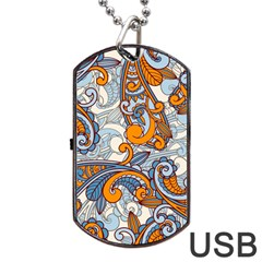 Paisley Pattern Dog Tag Usb Flash (two Sides) by Celenk