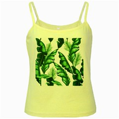 Banana Leaves And Fruit Isolated With Four Pattern Yellow Spaghetti Tank