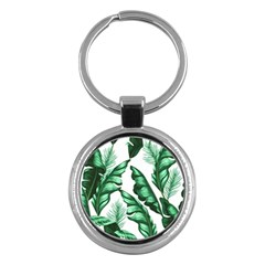 Banana Leaves And Fruit Isolated With Four Pattern Key Chains (round)  by Celenk