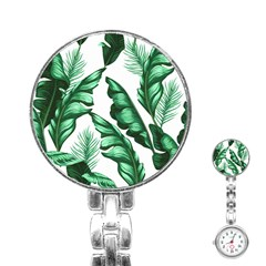 Banana Leaves And Fruit Isolated With Four Pattern Stainless Steel Nurses Watch by Celenk