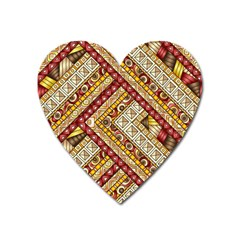 Ethnic Pattern Styles Art Backgrounds Vector Heart Magnet
