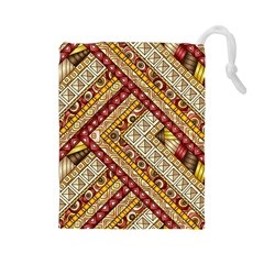 Ethnic Pattern Styles Art Backgrounds Vector Drawstring Pouches (large)  by Celenk