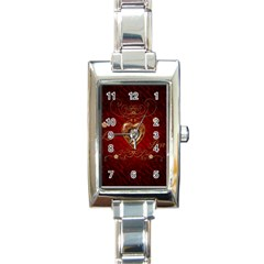 Wonderful Hearts With Floral Elemetns, Gold, Red Rectangle Italian Charm Watch by FantasyWorld7