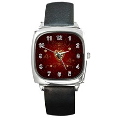 Wonderful Hearts With Floral Elemetns, Gold, Red Square Metal Watch by FantasyWorld7